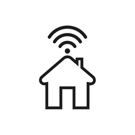 Smart home icon with signal - stock vector