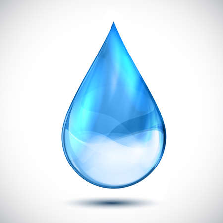 Isolated clean water blue drop - vector