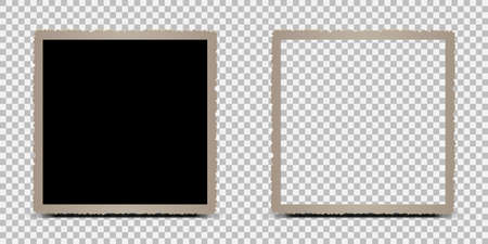 Two old empty photo frame with shadows - stock vector