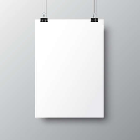Blank posters hanging with shadows. Hanging white paper on binders. A4 paper page, mockup, sheet on wall - vector