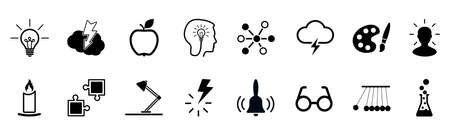 Idea icons set, creativity sign, creative idea logo with light bulb, human head, brain - stock vector Иллюстрация