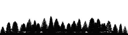 Forest, group of trees silhouettes - stock vector