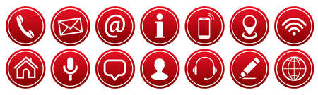 Set red buttons contact icons - stock vector