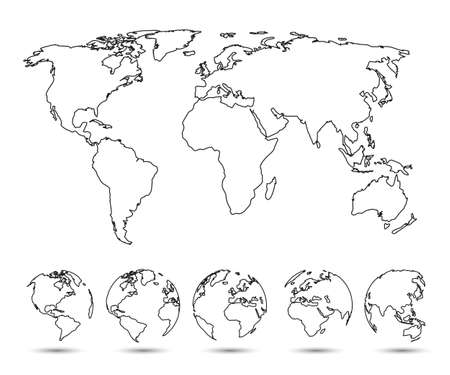 Earth set one line Globes with World Map - vector Иллюстрация