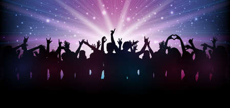 Party people in club dance to the music - stock vector Иллюстрация