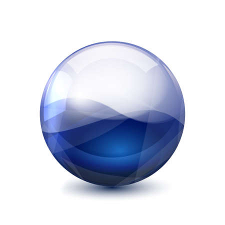 Blue 3D crystal magic sphere. Glass transparent ball with shadows - vector