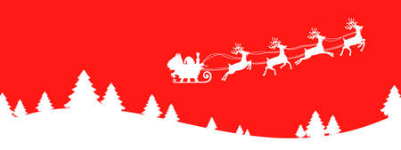 Santa Claus flying on Christmas sleigh in the night on red background, Christmas card decoration - vector