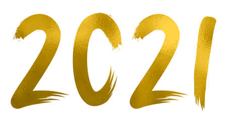 2021- happy New Year 2021 drawing gold grunge figures, Happy New Year decorative shiny design for celebration - stock vector 矢量图像