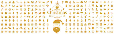 Set Christmas icons, New Year holidays icon big set in flat style collection - stock vector