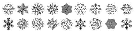 Set snowflake line icons, ice crystal snowflakes - vector