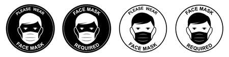 Face mask required sign. Attention do not enter without a face mask. Human wearing medical mask icon, protecting themselves against infection. Coronavirus - COVID-19, virus contamination, pollution.