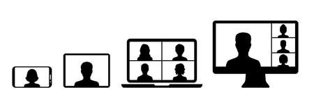 Web conference icon with people and different devices screen, business person having a video chat, digital communication, teaching media video conference icon, home office in quarantine times.