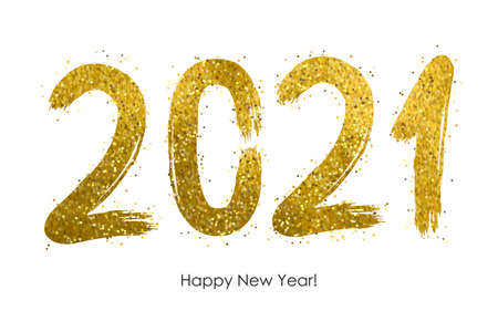 2021- Happy New Year 2021 drawing golden grunge text with bright sparkles, handwritten calligraphy text lettering in gold, Happy New Year decorative shiny design for celebration - stock vector