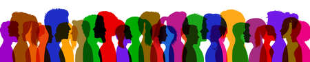 Group young people. Profile silhouette faces boys and girls set - vector for stock