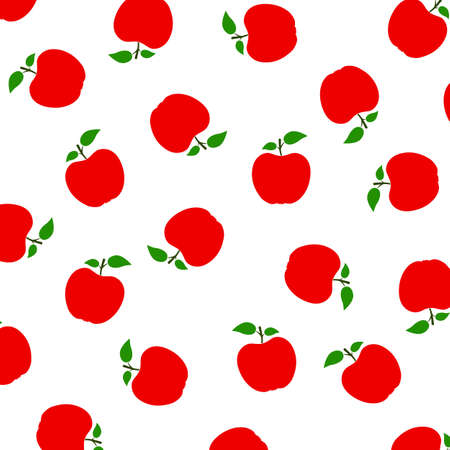 Seamless pattern with apple. Fashion design. Food print for tablecloth, curtain or dishcloth. Fruits sketch background - stock vector