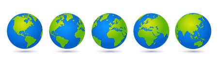 Earth set 3D Globes with World Maps - vector Иллюстрация