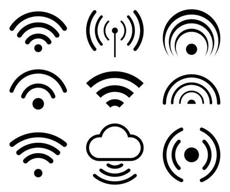 Wifi internet icons sign set - stock vector