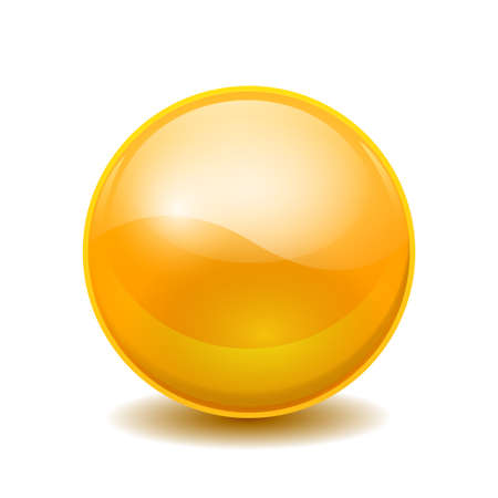 Yellow 3D crystal magic sphere. Glass transparent ball with shadows - stock vector