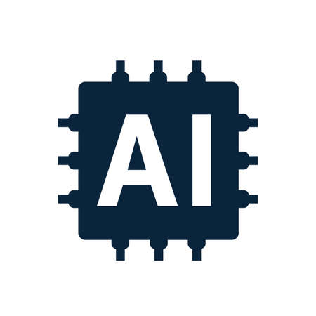 AI Artificial intelligence technology microchip of the electronics, flat icon, computer chip - vector