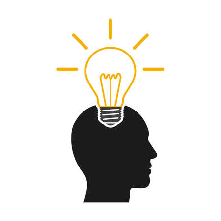 Idea, creative concept with man and bulb - vector for stock