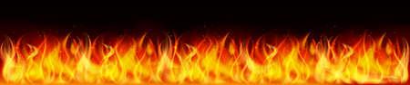 Flame on black background. Fire illustration for design - stock vector