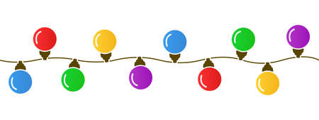 Illustration of a string of colorful holiday lights, Christmas lights isolated design elements, glowing lights for greeting card design, bright garlands - stock vector Иллюстрация