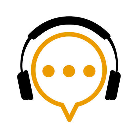 Chat icon with headphone, communication sign - stock vector Иллюстрация