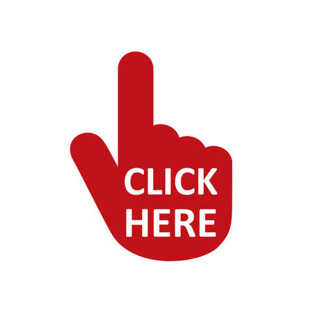 Click here button with hand pointer clicking. Click here web button. Isolated website hand finger clicking cursor - vector Иллюстрация