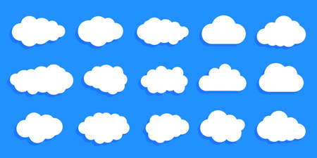 Set paper white clouds - for stock Иллюстрация