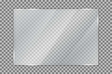 Glass plate on transparent background, clear glass showcase, realistic window mockup, acrylic and glass texture with glares and light, realistic transparent glass window in rectangle frame - vector