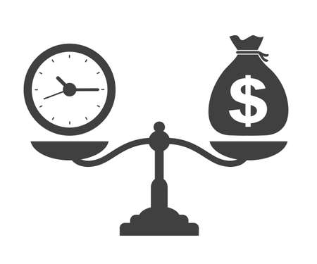 Time and money on scales icon. Time is Money. Dollar, time, scale icons - stock vector