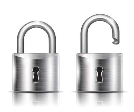 Realistic lock closed and open - stock vector