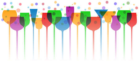 Bar glasses background. Wine glass, mugs, cups - stock vector