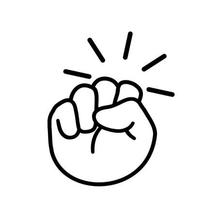Hand knocking on door  icon, fist knocking sign - stock vector
