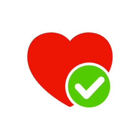 Hearts with check mark icon - stock vector Иллюстрация