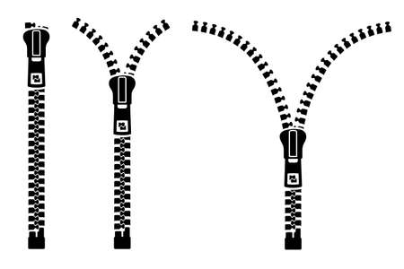 Zipper sign set silhouette. Set of close and open zip with fastener. Zipper buttoned, lock and unlock - stock vector Иллюстрация