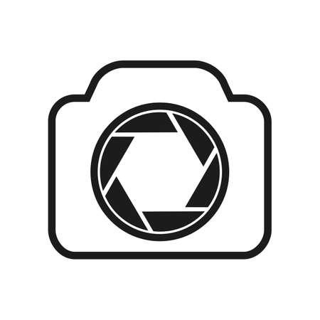 Photo camera flat icon  , focus sign - vector