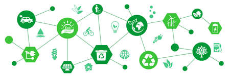 Ecology concept background. Set of ecology icons - vector