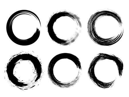 Set different circle brush strokes, hand drawn paint brush circle frame - stock vector