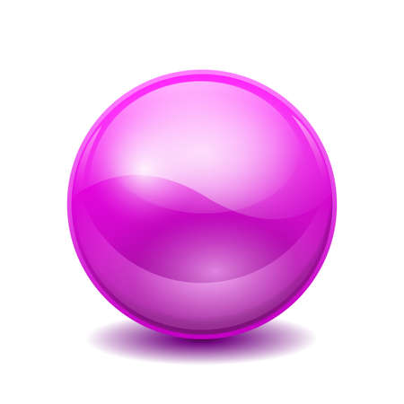Violet 3D crystal magic sphere. Glass transparent ball with shadows - stock vector