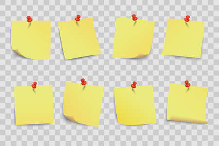 Set yellow sticky papers on transparent background - vector Иллюстрация