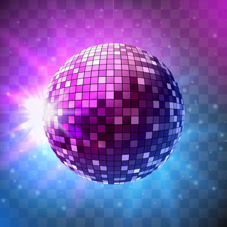 Disco ball with bright rays on transparent background