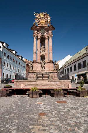 plaga: pilar de la plaga de la Trinidad en banska stiavnica, Eslovaquia, Europa