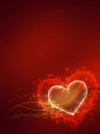 sparkling heart - valentine conceptual red abstract background Stock Photo - 5772081