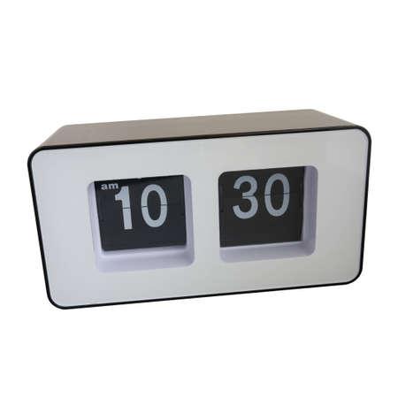black and white flip clock isolated photo
