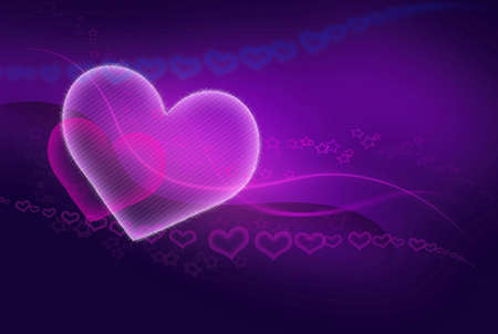 two hearts - valentine conceptual pink - blue abstract background Stock Photo - 5802550
