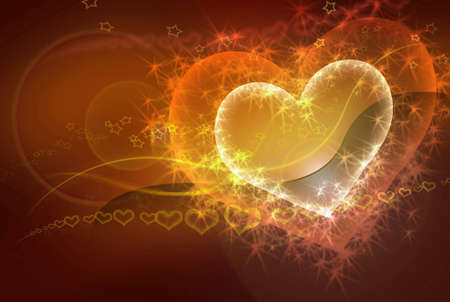 sparkling heart - valentine conceptual yellow - orange - red abstract background photo