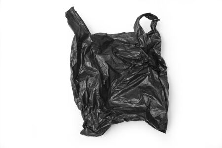 Black plastic bag isolated on white