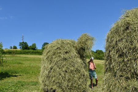 traditional way of hay stocked in the village