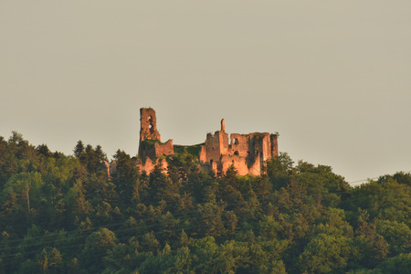 medieval  Castle ruins in the forest Zborov Slovakia